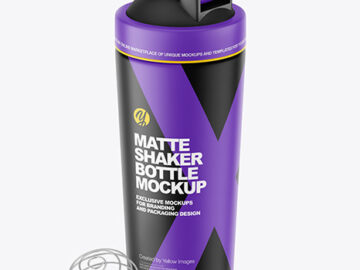 Matte Shaker Bottle With Blender Ball Mockup