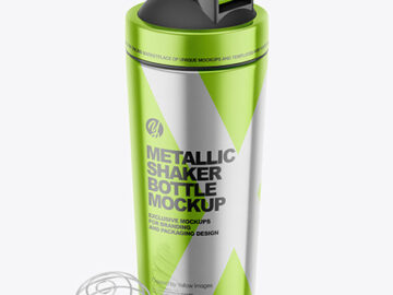 Metallic Shaker Bottle with Blender Ball Mockup