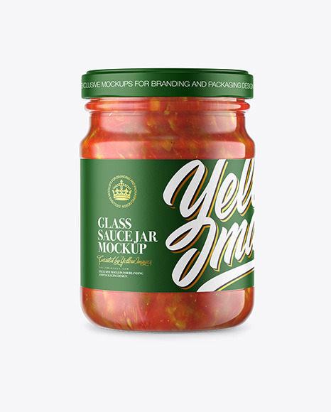 Glass Jar With Lecho Sauce Mockup