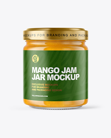 Clear Glass Jar with Mango jam Mockup