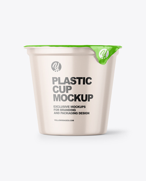 Round Glossy Plastic Cup Mockup