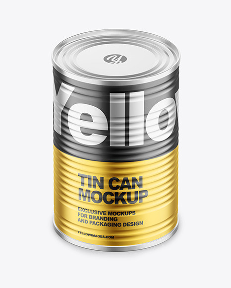 Matte Metallic Tin Can Mockup
