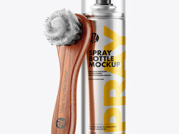 Spray Bottle with  Shoe Brush Mockup
