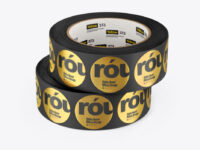 Two Rolls w/Round Stickers Mockup