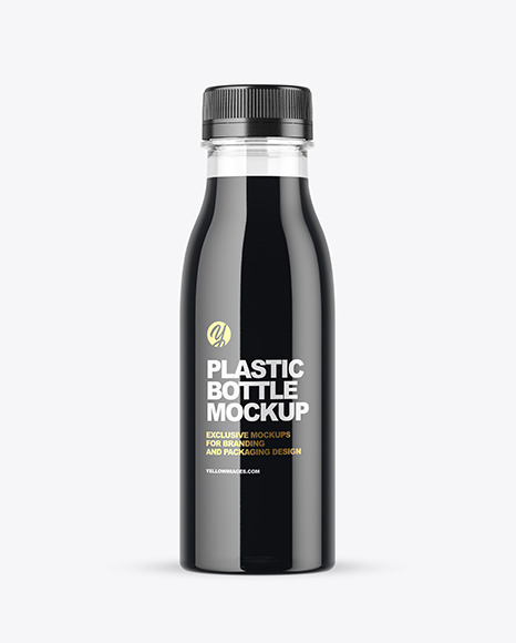 Clear Plastic Bottle  with Dark Drink Mockup