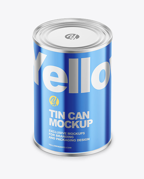 Glossy Metallic Tin Can Mockup