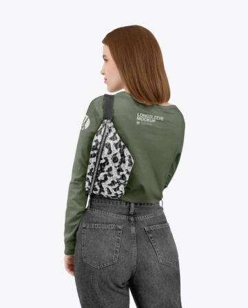 Girl in a Longsleeve Shirt with a Bum Bag Mockup