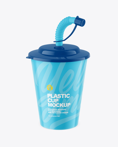 Matte Plastic Baby Cup w/ Straw Mockup