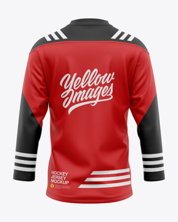 Men's Lace Neck Hockey Jersey Mockup - Back View