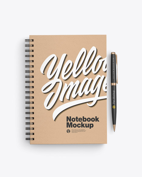 Kraft Notebook With Pen Mockup