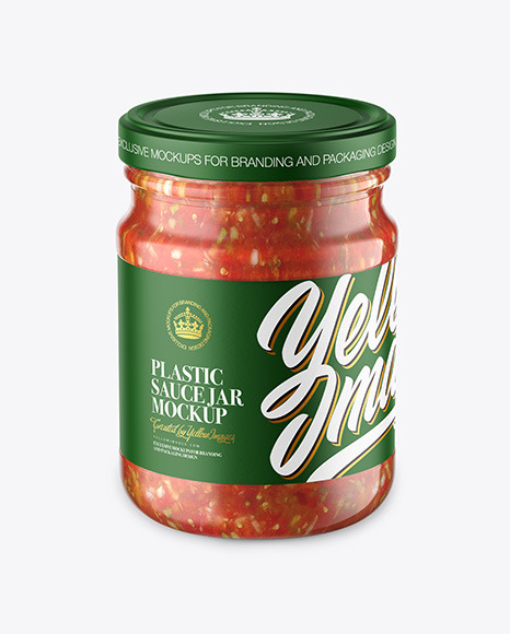 Glass Jar With Salsa Sauce Mockup