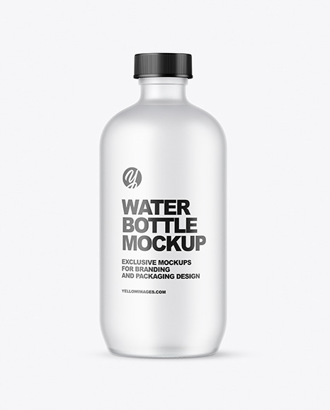 Frosted Glass Water Bottle Mockup