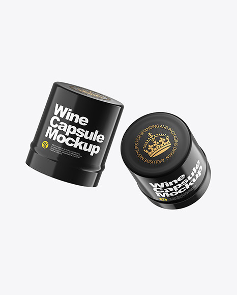Two Glossy Wine Capsules Mockup