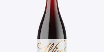 Clear Glass Red Wine Bottle with Screw Cap Mockup