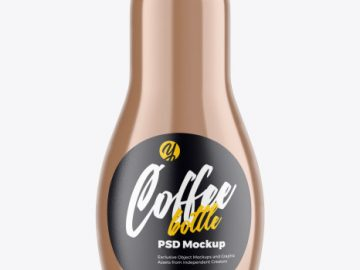 Glass Bottle with Coffee Mockup