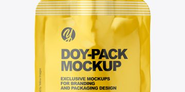 Glossy Plastic Doy-Pack Mockup