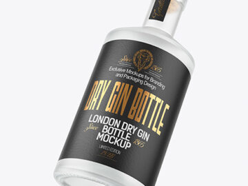 Frosted Glass Gin Bottle Mockup