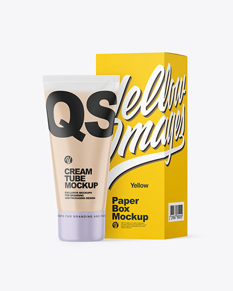 Clear Cosmetic Tube with Box Mockup
