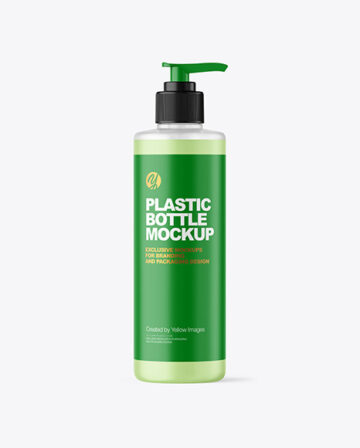 500ml Frosted Liquid Soap Cosmetic Bottle with Pump Mockup