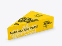 Matte Plastic Triangle Cheese Box Mockup