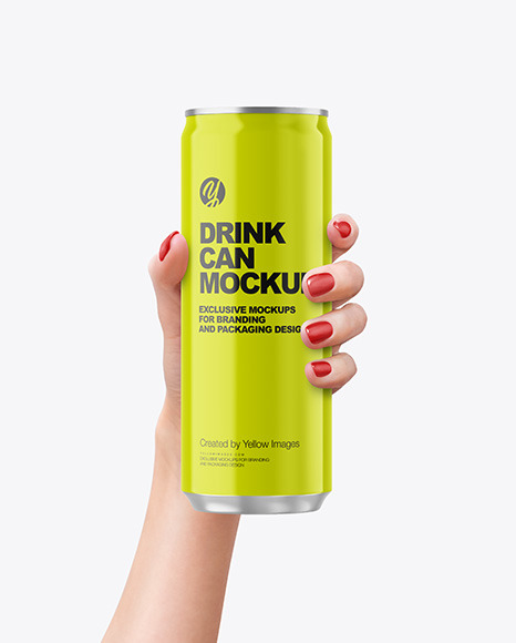 Aluminium Drink Can With Glossy Finish in a Hand Mockup