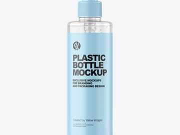500ml Clear Cosmetic Bottle with Pump Mockup
