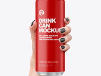 Aluminium Drink Can With Matte Finish in a Hand Mockup