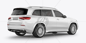 Full-size luxury SUV Mockup - Back Half Side View
