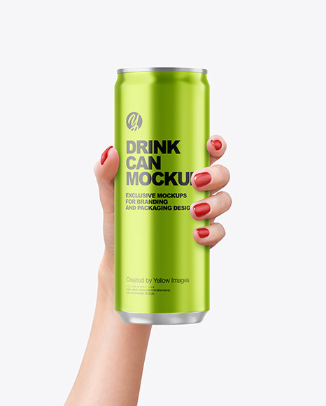 Aluminium Drink Can in a Hand Mockup