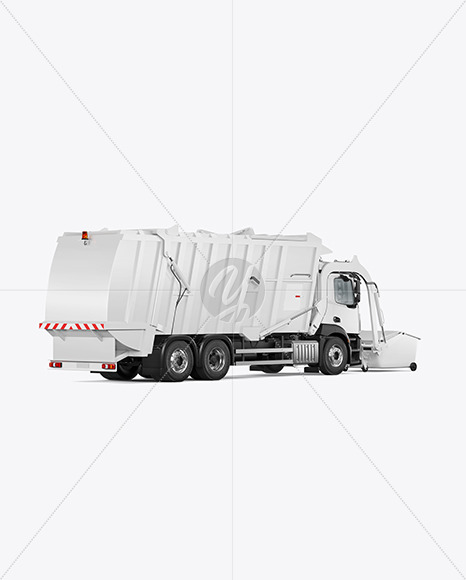 Garbage Truck Mockup - Back Half Side View