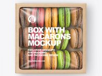 Paper Box With Macarons Mockup