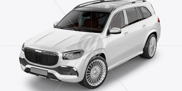 Full-size luxury SUV Mockup - Half Side View (High-Angle Shot)
