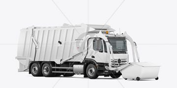 Garbage Truck Mockup - Half Side View