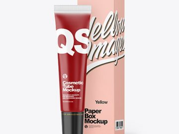 Clear Liquid Soap Cosmetic Tube with Box Mockup