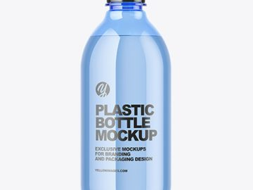 Blue Plastic Water Bottle Mockup