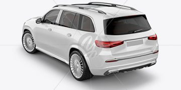 Full-size luxury SUV Mockup - Back Half Side View (High-Angle Shot)