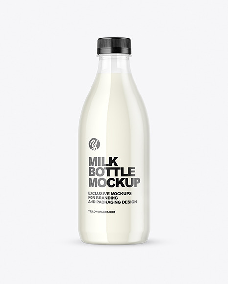 Clear Plastic Milk Bottle Mockup
