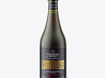 Frosted Green Glass Bottle w/ Red Wine Mockup