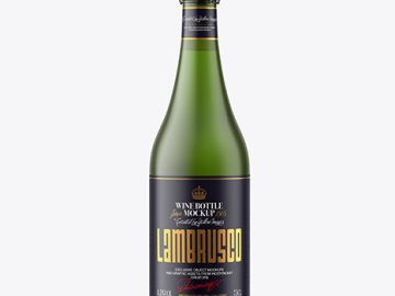 Frosted Green Glass Bottle w/ White Wine Mockup
