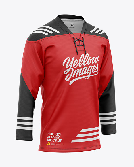Lace Neck Hockey Jersey Mockup