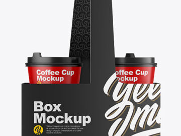 Matte Coffee Cups in Paper Holder Mockup