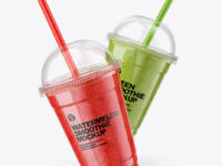 Watermelon and Green Smoothie Cups Mockup