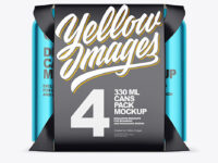 Carton Pack W/ 4 Glossy Metallic Cans Mockup