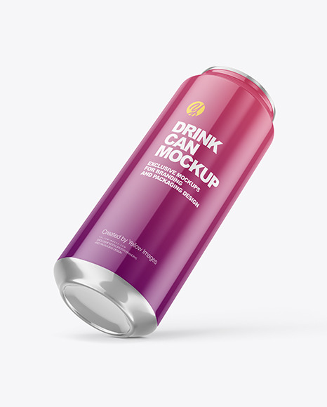 500ml Glossy Drink Can Mockup