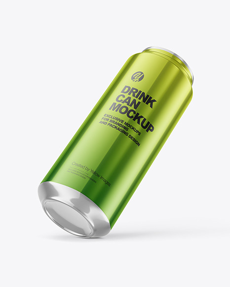 500ml Glossy Metallic Drink Can Mockup