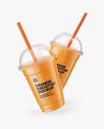 Two Orange Smoothie Cups Mockup