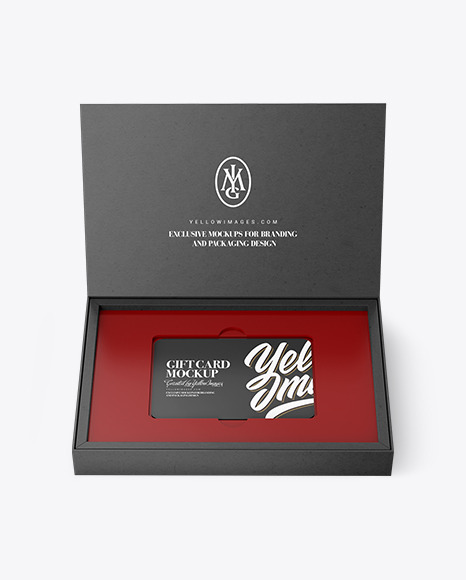 Gift Card in a Kraft Paper Box Mockup