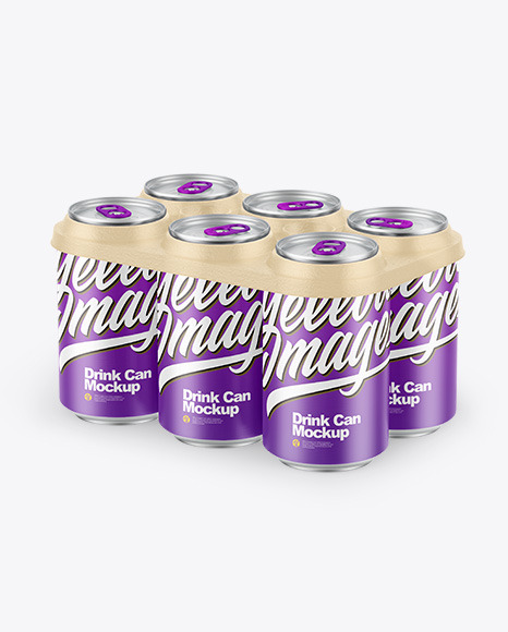 6 Pack Matte Cans with Holder Mockup