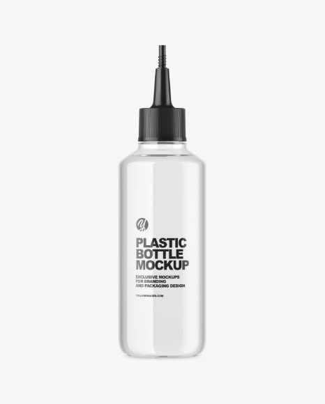 Clear Plastic Bottle w/ Spout Cap Mockup