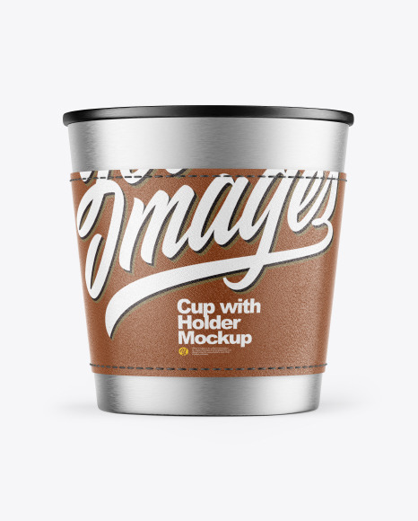 Metallic Cup with Holder Mockup